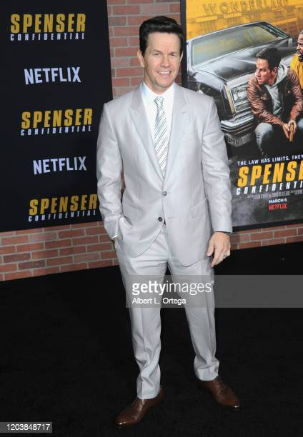 """Mark Wahlberg arrives for the premiere of Netflix's """"Spenser Confidential"""" held at Regency Village Theatre on February 27, 2020 in Westwood,..."""