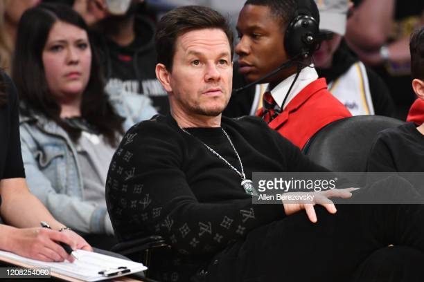 Mark Wahlberg attends a basketball game between the Los Angeles Lakers and the Boston Celtics at Staples Center on February 23, 2020 in Los Angeles,...