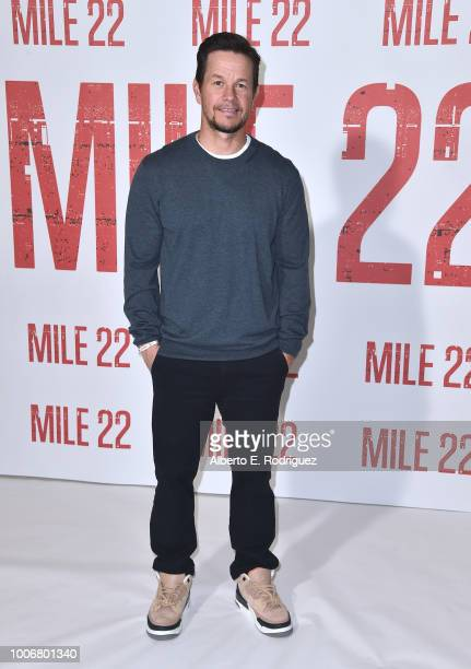 Mark Wahlberg attends a photo call for STX Films' Mile 22 at Four Seasons Hotel Los Angeles at Beverly Hills on July 28 2018 in Los Angeles California
