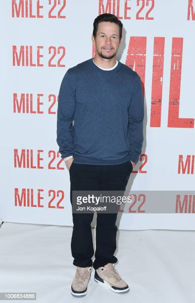 Mark Wahlberg attends the Los Angeles Photo Call for STXfilms' Mile 22 at Four Seasons Hotel Los Angeles at Beverly Hills on July 28 2018 in Los...