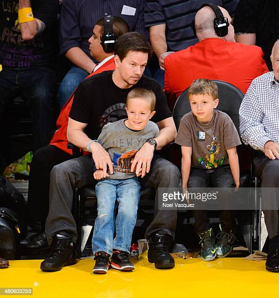 Mark Wahlberg Brendan Joseph Wahlberg and Michael Robert Wahlberg attend a basketball game between New York Knicks and the Los Angeles Lakers at...