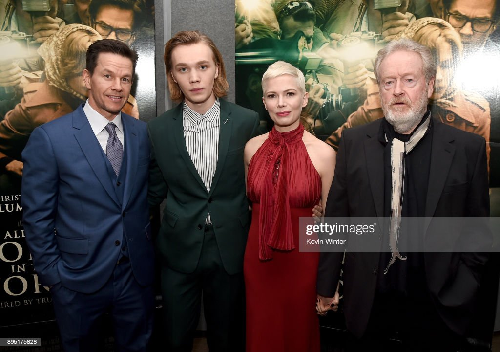 Mark Wahlberg, Charlie Plummer, Michelle Williams, and Ridley Scott attend the premiere of Sony Pictures Entertainment's 'All The Money In The World' at Samuel Goldwyn Theater on December 18, 2017 in Beverly Hills, California.