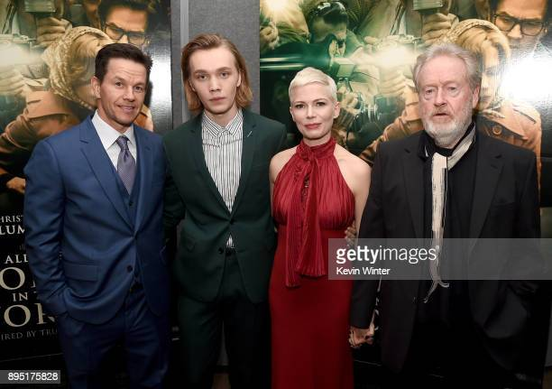 Mark Wahlberg Charlie Plummer Michelle Williams and Ridley Scott attend the premiere of Sony Pictures Entertainment's 'All The Money In The World' at...