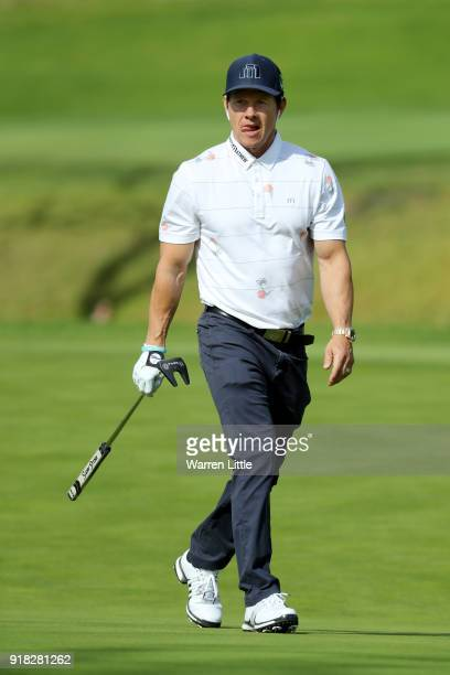 Mark Wahlberg competes during the ProAm of the Genesis Open at the Riviera Country Club on February 14 2018 in Pacific Palisades California