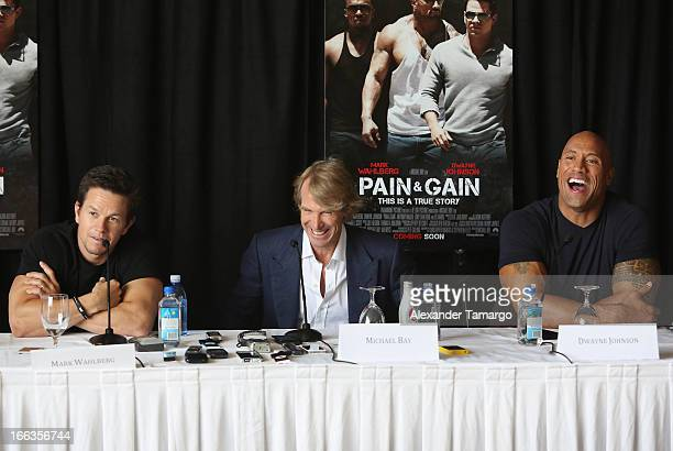 Mark Wahlberg director/producer Michael Bay and Dwayne Johnson attend the press conference of the Miami Premiere of Pain Gain at Mandarin Oriental on...