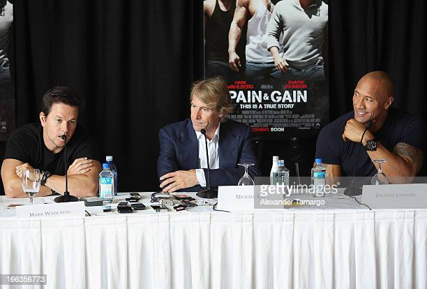 Mark Wahlberg director/producer Michael Bay and Dwayne Johnson attend the press conference of the Miami Premiere of 'Pain Gain' at Mandarin Oriental...