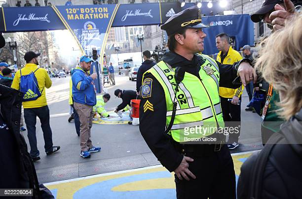 Mark Wahlberg filming a scene for Patriots Day at the finish line of the 120th Boston Marathon in Boston Mass on Monday April 18 2016 More than 30000...