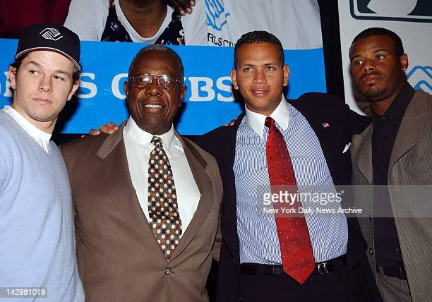 Mark Wahlberg Hank Aaron Alex Rodriguez and Ken Griffey Jr are on hand at the WaldorfAstoria to help with the launch of the Boys and Girls Clubs of...