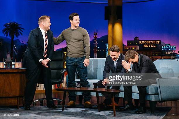 Mark Wahlberg Joel Edgerton and Jeremy Renner chat with James Corden during 'The Late Late Show with James Corden' Tuesday January 10 2017 On The CBS...