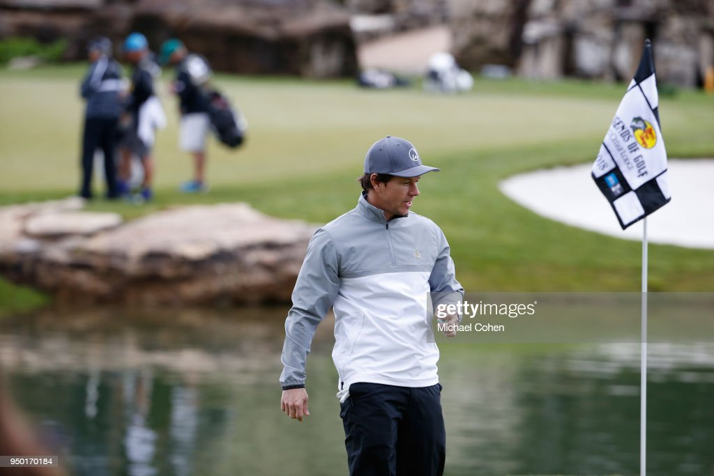 Mark Wahlberg looks on during the Bass Pro Shops Legends of Golf Celebrity Shootout at Big Cedar Lodge held at Top of the Rock on April 22, 2018 in Ridgedale, Missouri.