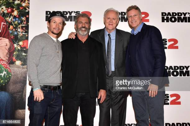 Mark Wahlberg Mel Gibson John Lithgow and Will Ferrell attends the Irish premiere of 'Daddy's Home 2' Odeon Cinema on November 15 2017 in Dublin...