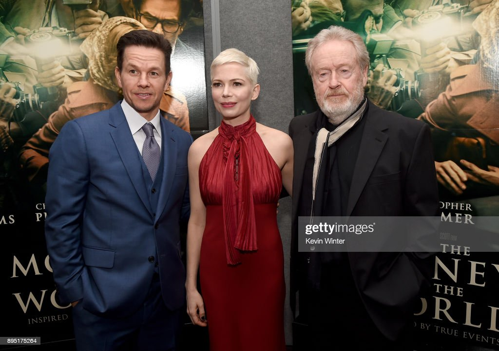 Mark Wahlberg, Michelle Williams, and Ridley Scott attend the premiere of Sony Pictures Entertainment's 'All The Money In The World' at Samuel Goldwyn Theater on December 18, 2017 in Beverly Hills, California.