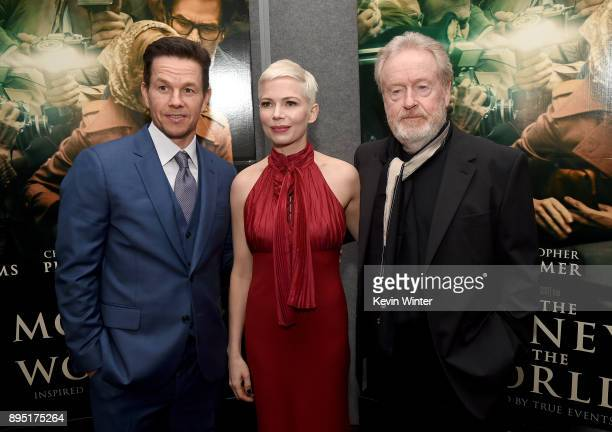 Mark Wahlberg Michelle Williams and Ridley Scott attend the premiere of Sony Pictures Entertainment's 'All The Money In The World' at Samuel Goldwyn...