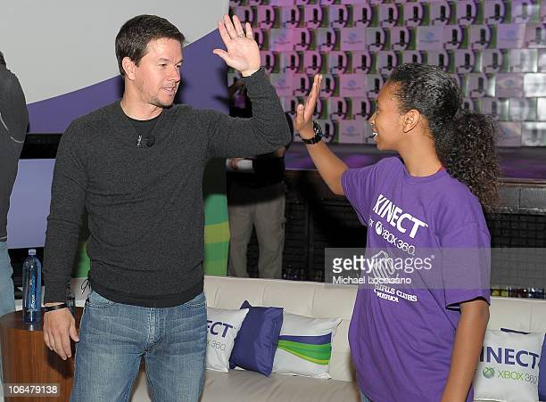 Mark Wahlberg plays Kinect Sports with local NY Boys and Girls Club member to celebrate Microsoft's donation of 4000 Kinect units to Boys and Girls...