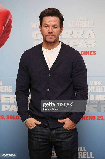Mark Wahlberg poses for pictures during the photocall of the movie 'Daddy's Home' at The St Regis Hotel on January 25 2016 in Mexico City Mexico