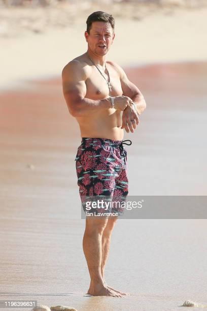 Mark Wahlberg seen on the beach outside Sandy Lane Hotel on December 28, 2019 in Bridgetown, Barbados.