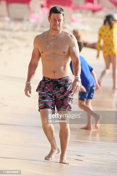 Mark Wahlberg seen on the beach outside Sandy Lane Hotel on December 28 2019 in Bridgetown Barbados