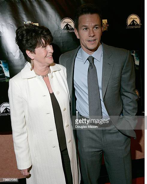 Mark Wahlburg and his mother Alma attend the premiere of the movie 'Shooter' at the Loews theatre on the Boston Common on March 15 2007 in Boston...