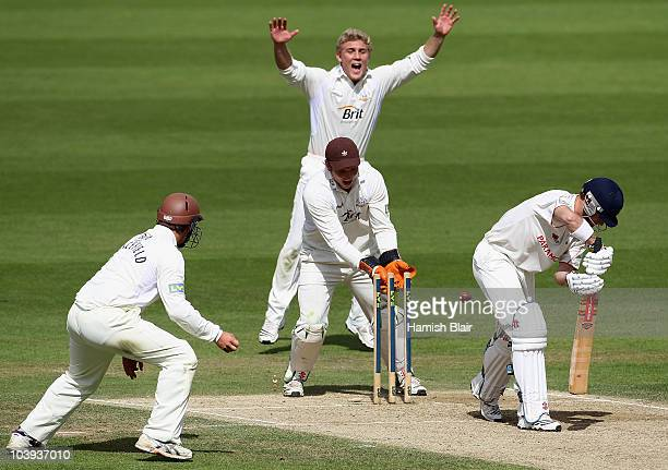 Mark Wallace of Glamorgan is bowled by Chris Schofield of Surrey during day three of the LV County Championship Division Two match between Surrey and...