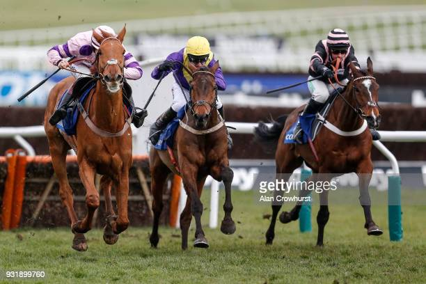 Mark Walsh riding Bleu Berry clear the last to win The Coral Cup Handicap Hurdle race at Cheltenham racecourse on Ladies Day on March 14 2018 in...