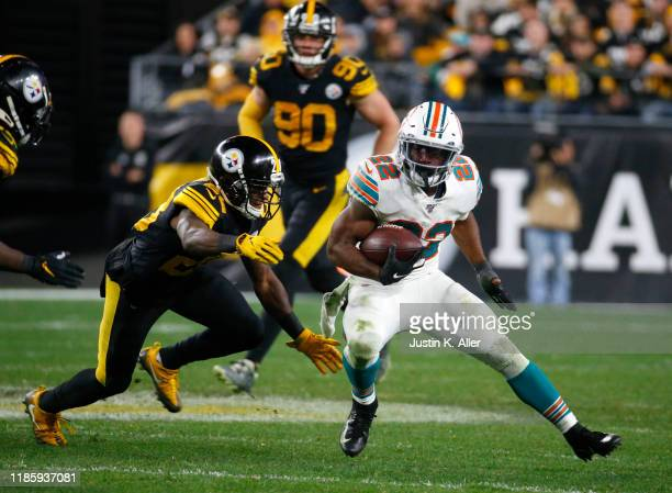 Mark Walton of the Miami Dolphins in action against the Pittsburgh Steelers on October 28 2019 at Heinz Field in Pittsburgh Pennsylvania