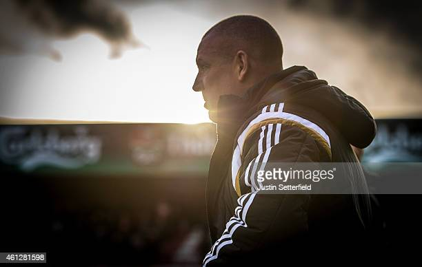 Mark Warburton Manager of Brentford FC looks on ahead of the Sky Bet Championship match between Brentford and Rotherham United at Griffin Park on...