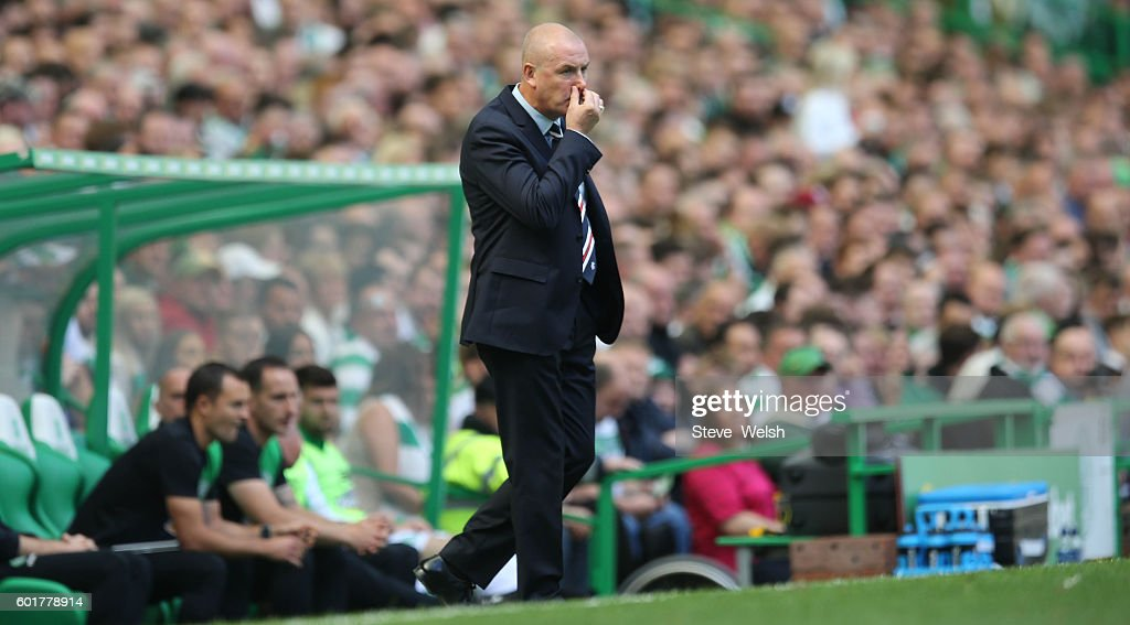 Mark Warburton Manager of Rangers during the Ladbrokes Scottish Premiership match between Celtic and Rangers on September 10, 2016 in Glasgow.