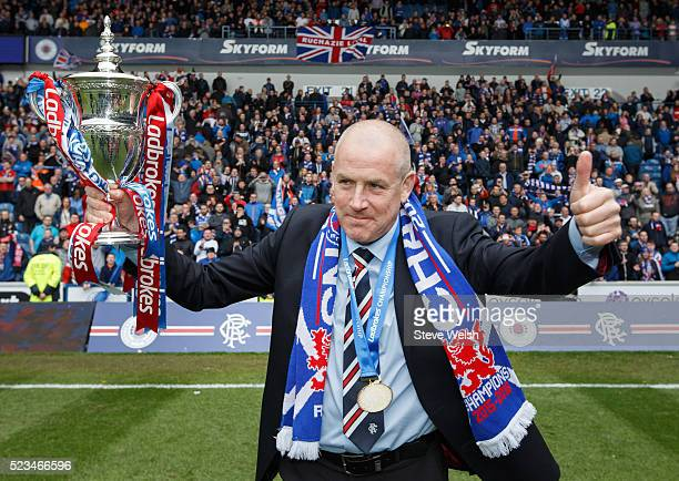 Mark Warburton Rangers manager lifts the Scottish Championship Trophy after the Scottish Championship match between Rangers and Alloa Athletic...