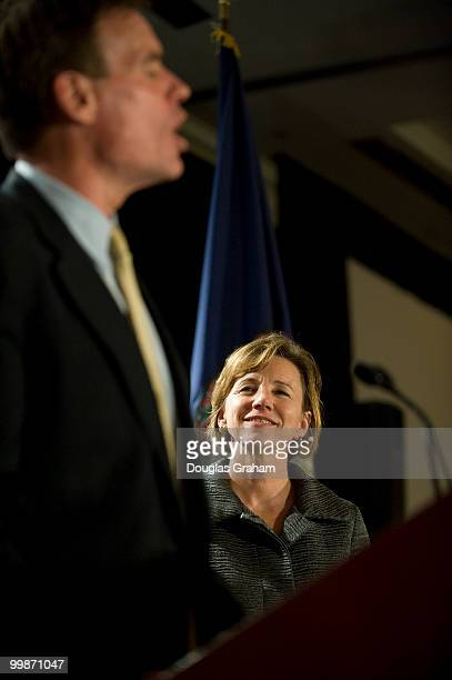 Mark Warner and his wife Lisa Collis during his victory party at the Hilton McLean Tysons Corner in McLean Virginia November 4 2008
