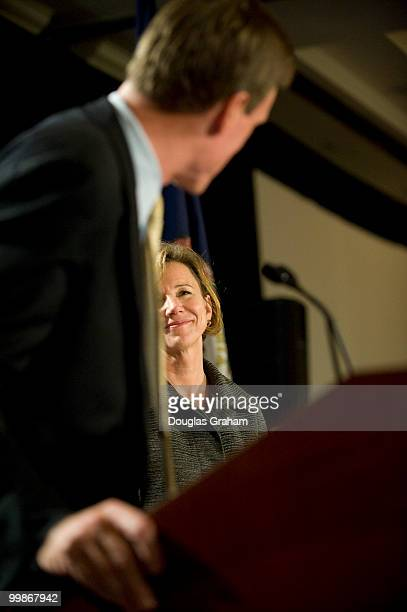 Mark Warner glances back at his his wife Lisa Collis during his victory party at the Hilton McLean Tysons Corner in McLean Virginia November 4 2008