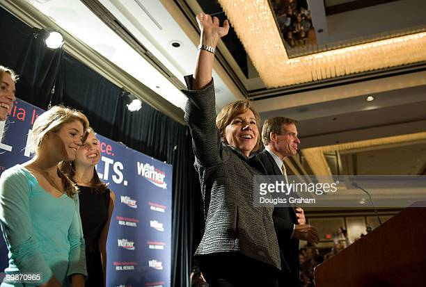 Mark Warner his daughters Gillian Madison Eliza and wife Lisa Collis at his victory party at the Hilton McLean Tysons Corner in McLean Virginia...
