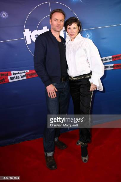 Mark Waschke and Meret Becker attend the 'Tatort Meta' premiere at Delphi Filmpalast on January 24 2018 in Berlin Germany