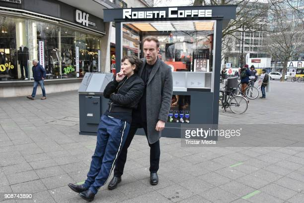 Mark Waschke and Meret Becker during the Tatort on set Photo Call on January 22 2018 in Berlin Germany