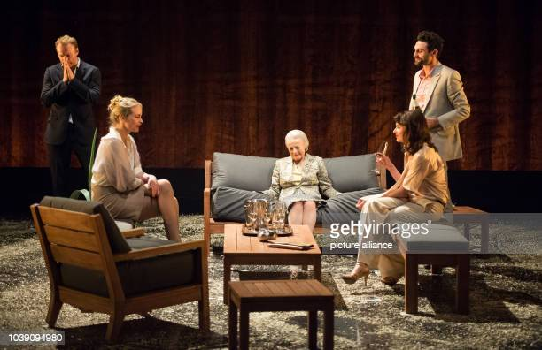 Mark Waschke Nina Hoss Lore Stefanek Stephanie Eidt and Renato Schuch perform on stage during the photo rehearsal of the play 'Bella Figura' in the...