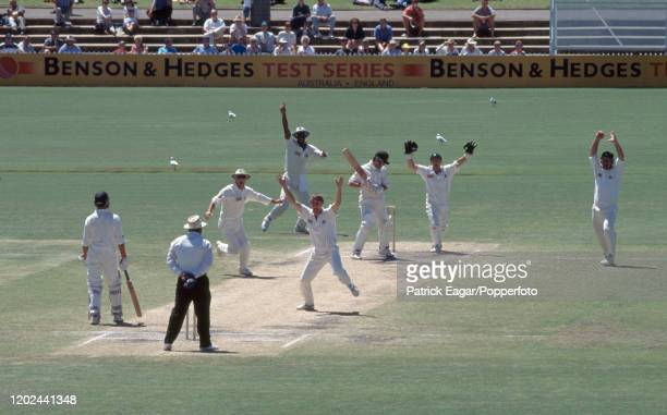 Mark Waugh of Australia is caught for 24 runs by Mike Gatting of England off the bowling of Phil Tufnell during the 4th Test match between Australia...