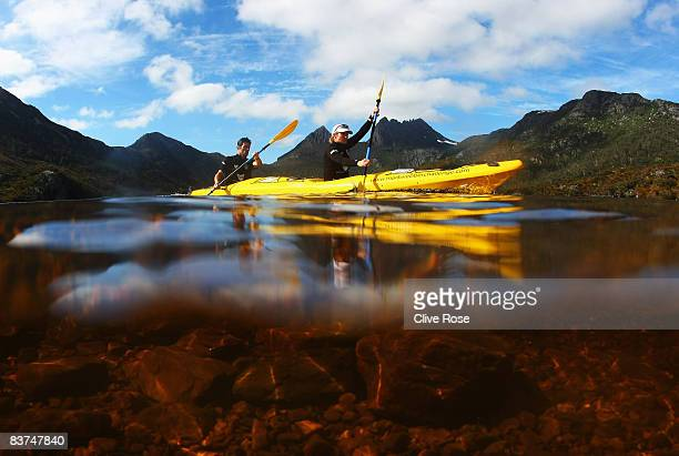Mark Webber and Emma Weitnauer of Team Pure Tasmania in action during the kayak section during day one of the Mark Webber Pure Tasmania Challenge...