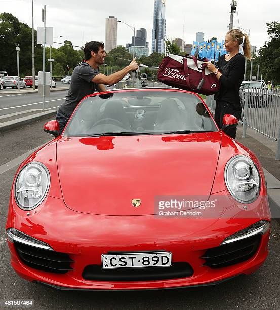 Mark Webber drives Maria Sharapova to practice at Rod Laver Arena in preparation for the 2015 Australian Open during a Porsche photo call on January...