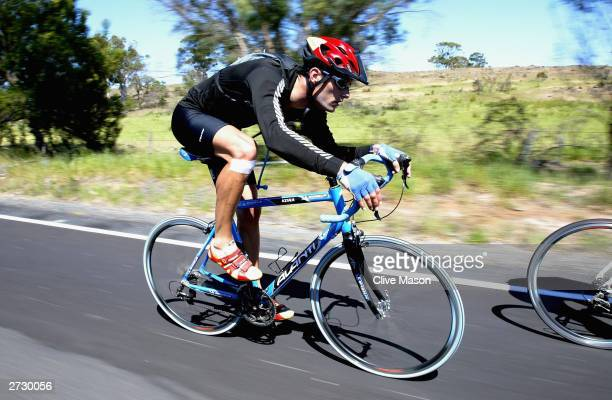 Mark Webber in action on his bike, on his way to Coles Bay, during The Cadbury Schweppes Mark Webber Challenge on November 15, 2003 in Tasmania,...