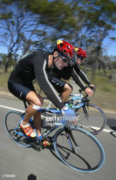 Mark Webber in action on his bike on his way to Coles Bay, during The Cadbury Schweppes Mark Webber Challenge on November 15, 2003 in Tasmania,...