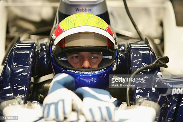 Mark Webber of Australia and BMW Williams is shown during Formula One testing at the Circuit De Catalunya November 24, 2004 in Barcelona, Spain.