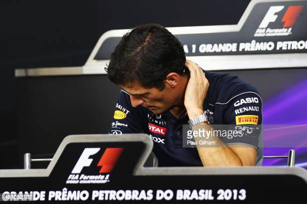 Mark Webber of Australia and Infiniti Red Bull Racing attends his final drivers press conference during previews for the Brazilian Formula One Grand...