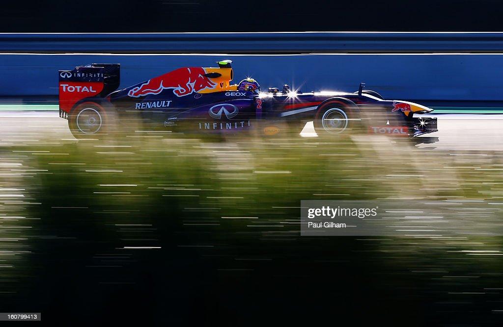 Mark Webber of Australia and Infiniti Red Bull Racing drives during Formula One winter testing at Circuito de Jerez on February 6, 2013 in Jerez de la Frontera, Spain.