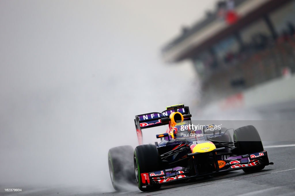 Mark Webber of Australia and Infiniti Red Bull Racing drives during day four of Formula One winter tesingt at the Circuit de Catalunya on February 22, 2013 in Montmelo, Spain.
