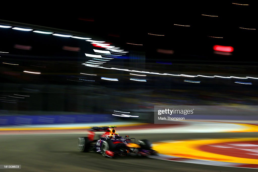 Mark Webber of Australia and Infiniti Red Bull racing drives during practice for the Singapore Formula One Grand Prix at Marina Bay Street Circuit on September 20, 2013 in Singapore, Singapore.