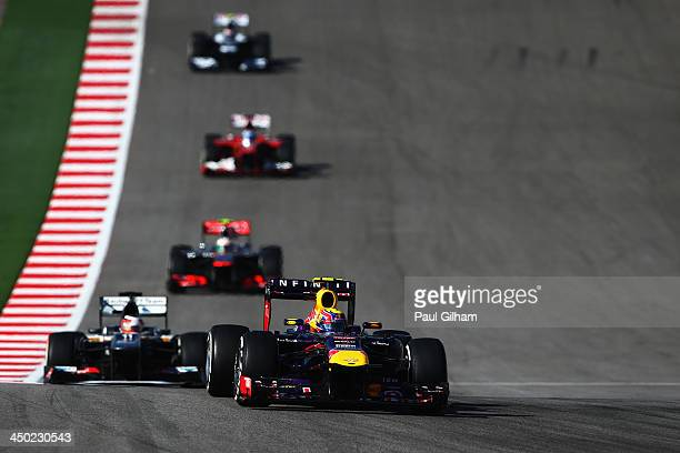 Mark Webber of Australia and Infiniti Red Bull Racing drives during the United States Formula One Grand Prix at Circuit of The Americas on November...