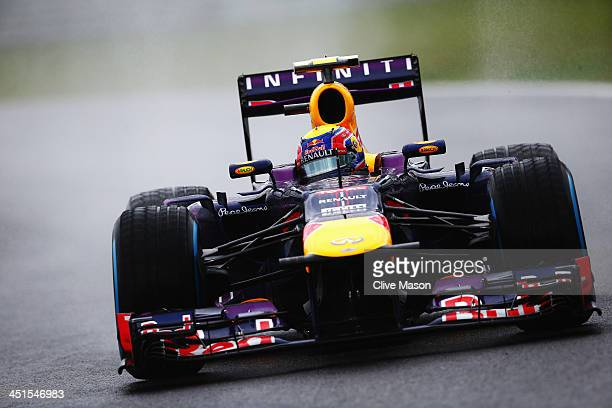 Mark Webber of Australia and Infiniti Red Bull Racing drives during the final practice session prior to qualifying for the Brazilian Formula One...