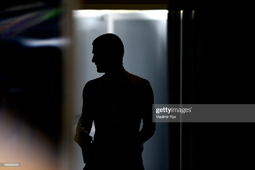 Mark Webber of Australia and Infiniti Red Bull Racing is seen in the garage prior to the Chinese Formula One Grand Prix at the Shanghai International Circuit on April 14, 2013 in Shanghai, China.