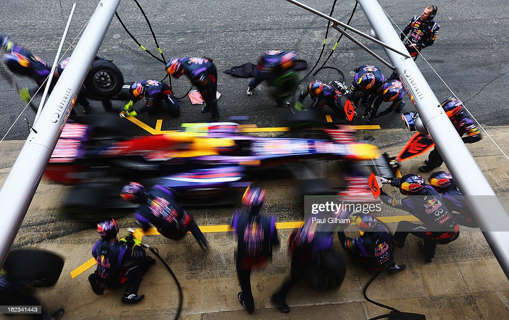 Mark Webber of Australia and Infiniti Red Bull Racing pulls in for a pitstop during day four of Formula One winter test at the Circuit de Catalunya on February 22, 2013 in Montmelo, Spain.