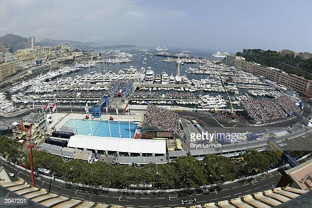 Mark Webber of Australia and Jaguar in action at the start of the Formula One Monaco Grand Prix on June 1, 2003 in Monte Carlo, Monaco.