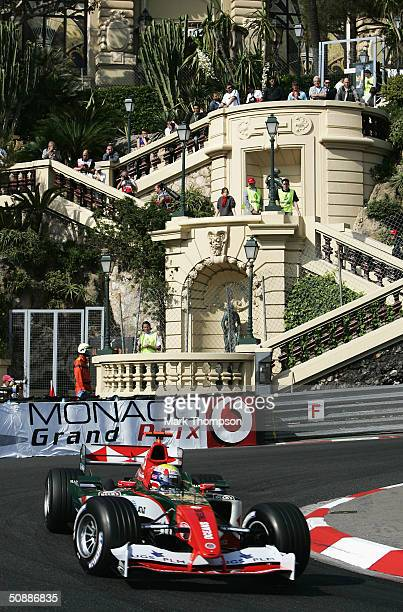 Mark Webber of Australia and Jaguar in action during qualifying for the Monaco F1 Grand Prix on May 22 in Monte Carlo, Monaco.